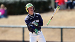CARY, NC - MARCH 05: Notre Dame's Jake Shepski flips his bat towards the dugout before walking down to first base. The Monmouth University Hawks played the University of Notre Dame Fighting Irish on March 5, 2017, at USA Baseball NTC Field 2 in Cary, NC in a Division I College Baseball game, and part of the Irish Classic tournament. Notre Dame won the game 4-0.