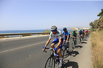 The peloton including Laurens De Plus (BEL) Quick-Step Floors wearing the Combined Jersey in full flight after the start of Stage 4 of the La Vuelta 2018, running 162km from Velez-Malaga to Alfacar, Sierra de la Alfaguara, Andalucia, Spain. 28th August 2018.<br /> Picture: Eoin Clarke   Cyclefile<br /> <br /> <br /> All photos usage must carry mandatory copyright credit (&copy; Cyclefile   Eoin Clarke)