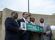 August 25, 2011 (Washington, DC)  On August 25, 2011, DC Mayor Vincent Gray (D-DC) (center left) held a press conference announcing the designation of the Southeast/Southwest Freeway, the 11th Street Bridge and sections of Maine and Independence Avenues SW as Martin Luther King, Jr. Drive.  Also attending were Councilmembers Marion Barry Jr. (D-Ward 8) (center right) and Vincent Orange (D-At Large) (left), and Harry E. Johnson Sr., president & CEO of the Martin Luther King, Jr. National Memorial Project Foundation, Inc. (right) (Photo by Don Baxter/Media Images International)
