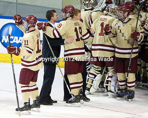 Pat Mullane (BC - 11), Brooks Dyroff (BC - 14), Chris Kreider (BC - 19), Patrick Brown (BC - 23), Brian Billett (BC - 1), Bill Arnold (BC - 24) - The Boston College Eagles defeated the University of Minnesota Duluth Bulldogs 4-0 to win the NCAA Northeast Regional on Sunday, March 25, 2012, at the DCU Center in Worcester, Massachusetts.