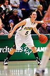 31 January 2010: University of Vermont Catamount guard Kristine Lalonde, a Freshman from Sudbury, Ontario, in action against the University of New Hampshire Wildcats at Patrick Gymnasium in Burlington, Vermont. The Lady Catamounts defeated the visiting Wildcats 78-64. Mandatory Credit: Ed Wolfstein Photo