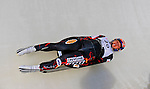 6 February 2009: Madoka Harada from Japan slides through a curve in the Women's Competition finishing in 31st place at the 41st FIL Luge World Championships, in Lake Placid, New York, USA. .  .Mandatory Photo Credit: Ed Wolfstein Photo
