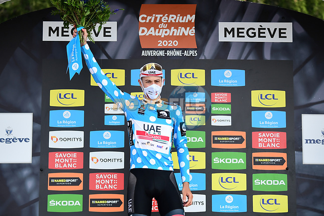 David de la Cruz (ESP) UAE Team Emirates wins the mountains Polka Dot Jersey at the end of Stage 5 of Criterium du Dauphine 2020, running 153.5km from Megeve to Megeve, France. 16th August 2020.<br /> Picture: ASO/Alex Broadway   Cyclefile<br /> All photos usage must carry mandatory copyright credit (© Cyclefile   ASO/Alex Broadway)