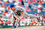 1 August 2018: New York Mets pitcher Seth Lugo on the mound against the Washington Nationals at Nationals Park in Washington, DC. The Nationals defeated the Mets 5-3 to sweep the 2-game weekday series. Mandatory Credit: Ed Wolfstein Photo *** RAW (NEF) Image File Available ***