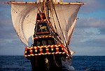 Golden Hind, Sir Francis Drake's 1580's historic replica sailing ship stern-on in search of adventure and exploration, property released, note also spelled Golden Hinde,