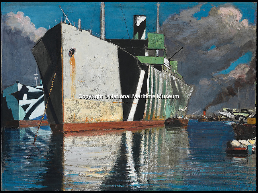 BNPS.co.uk (01202 558833)<br /> Pic: NationalMaritimeMuseum/BNPS<br /> <br /> ***Only To Be Used In Connection with Book***<br /> <br /> Discharging flour 1918, dazzle painted cargo vessel with reflection in calm water, and other vessels in the background.<br /> <br /> Poignant 'forgotten' works of art revealing the plight of those who fought at sea in the two world wars have come to light in the first ever book dedicated to the subject.<br /> <br /> Art and the War at Sea features dozens of unseen, 'lost' or little-known paintings and sketches showing the reality of life onboard naval and merchant ships in wartime.<br /> <br /> While countless books have been written about paintings created on Europe's Western Front during conflict, this is the first ever to focus on maritime and naval art from WWI and WWII.<br /> <br /> Art and the War at Sea: 1914-1945 is published by Lund Humphries and costs &pound;40.