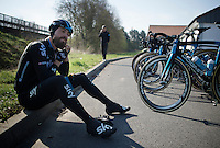 Bernie Eisel (AUT/SKY) prepping for a training ride<br /> <br /> 2015 Paris-Roubaix recon with Team SKY