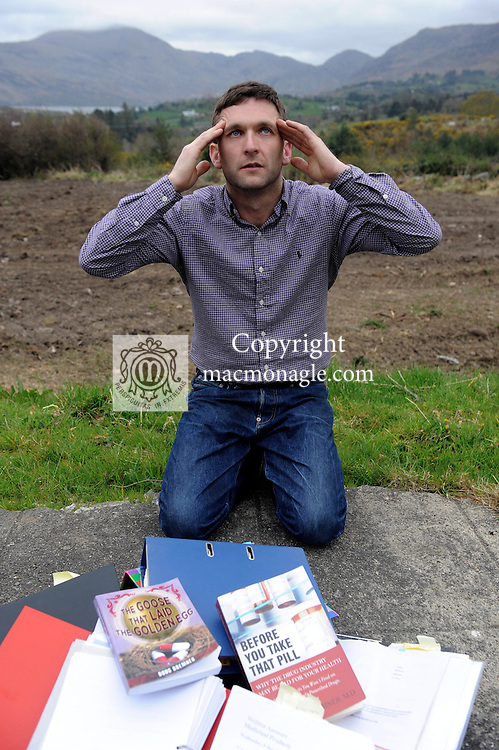 Jason O'Sullivan from Muckross, Killarney who claims the drug Accutane which he took for acne has caused him to have severe headaches for 16 years and he is on a campaign to have the drug banned in Ireland. Jason is pictured with a large amount of literature and correspondence he has amassed over the years.<br /> Picture by Don MacMonagle
