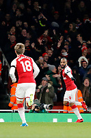 GOAL - Alexandre Lacazette of Arsenal celebrates his opener during the Premier League match between Arsenal and Huddersfield Town at the Emirates Stadium, London, England on 29 November 2017. Photo by Carlton Myrie / PRiME Media Images.