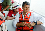 President Correa aboard boat on the Amazon River at Guayaquil, Ecuador