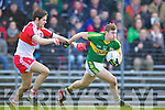 James O'Donoghue Kerry in action against Chrissy McKaigue Derry in round Two of the National Football league at Fitzgerald Stadium, Killarney on Sunday the 9th of February.