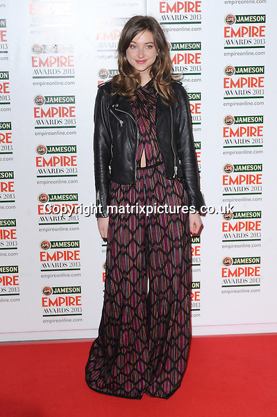 NON EXCLUSIVE PICTURE: PAUL TREADWAY / MATRIXPICTURES.CO.UK.PLEASE CREDIT ALL USES..WORLD RIGHTS..Actress Antonia Clarke attending the Jameson Empire Film Awards 2013, at London's Grosvenor House Hotel...MARCH 24th 2013..REF: PTY 131947