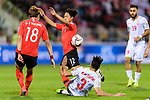 Lee Seungwoo of South Korea (C,top) fights for the ball with Waleed Mohamed Alhayam of Bahrain (C, bottom) during the AFC Asian Cup UAE 2019 Round of 16 match between South Korea (KOR) and Bahrain (BHR) at Rashid Stadium on 22 January 2019 in Dubai, United Arab Emirates. Photo by Marcio Rodrigo Machado / Power Sport Images