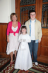 Callystown National School First Communion..Rachel Judge with her brother PJ and Mother Frances Clarke..Pic Fran Caffrey/newsfile.ie