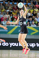 04.09.2016 Silver Ferns Katrina Grant in action during the Netball Quad Series match between the Silver Ferns and Australia played at Margaret Court Arena in Melbourne. Mandatory Photo Credit ©Michael Bradley.