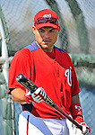 19 February 2011: Washington Nationals' catcher Ivan Rodriguez looks over a new bat during Spring Training at the Carl Barger Baseball Complex in Viera, Florida. Mandatory Credit: Ed Wolfstein Photo