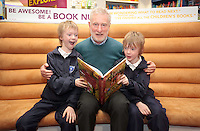 "*** NO FEE PIC***.01/03/2012.Pictured is Irish Author Brendan O' Brien with third class children from Holy Cross National School Dundrum, Dublin (L to R) Twins Frankie Kelly Corrigan & Charlie Kelly Corrigan (9) at a free reading event of his book "" The Story of Ireland"" in Eason Dundrum to celebrate the 15th annual World Book Day. To celebrate World Book Day Eason, Ireland's leading retailerof books, stationery, magazines & More have teamed up with some of Ireland'sleading children's writers to deliver a series of events in key stores to mark World Book Day..Photo: Gareth Chaney Collins"