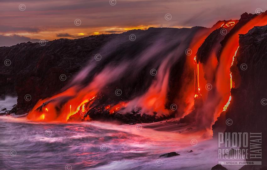 New land is created as lava enters the ocean near Kalapana on the Big Island of Hawai'i.