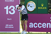 Minjee Lee (AUS) tees off the 13th tee during Friday's Round 2 of The Evian Championship 2018, held at the Evian Resort Golf Club, Evian-les-Bains, France. 14th September 2018.<br /> Picture: Eoin Clarke | Golffile<br /> <br /> <br /> All photos usage must carry mandatory copyright credit (&copy; Golffile | Eoin Clarke)