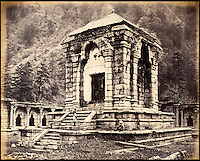 BNPS.co.uk (01202 558833)<br /> Pic: DominicWinter/BNPS<br /> <br /> An ancient temple at northern Kashmir.<br /> <br /> Fascinating 150 year-old photographs of India taken in the aftermath of the failed mutiny have sold for almost &pound;8,000 at auction.<br /> <br /> The images, which date from 1863 to 1870, capture native soldiers with their weapons and picturesque landscapes and were taken by celebrated 19th century photographer Samuel Bourne.<br /> <br /> They went for a hammer price of &pound;6,400 to a private collector from America who bid online with extra fees pushing the overall price above &pound;7,800.<br /> <br /> Together with Charles Shepherd, Bourne set up photo studio Bourne &amp; Shepherd first in Simla in 1863 and later in Calcutta.