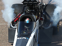 Feb 24, 2019; Chandler, AZ, USA; NHRA top fuel driver Jordan Vandergriff during the Arizona Nationals at Wild Horse Pass Motorsports Park. Mandatory Credit: Mark J. Rebilas-USA TODAY Sports