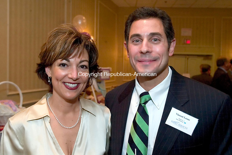 SOUTHBURY, CT-18 OCTOBER 2006-101806JS17-Holly Leone of Waterbury and her husband Dr. Vincent Leone at the Family Services of Greater Waterbury's 9th Annual Dinner held at the Southbury Crowne Plaza. <br />  -Jim Shannon Republican-American