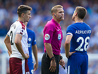 Chelsea's Cesar Azpilicueta protests to Referee Craig Pawson after team mate Cesc Fabregas (not pictured) is sent off<br /> <br /> Photographer Craig Mercer/CameraSport<br /> <br /> The Premier League - Chelsea v Burnley - Saturday August 12th 2017 - Stamford Bridge - London<br /> <br /> World Copyright &copy; 2017 CameraSport. All rights reserved. 43 Linden Ave. Countesthorpe. Leicester. England. LE8 5PG - Tel: +44 (0) 116 277 4147 - admin@camerasport.com - www.camerasport.com