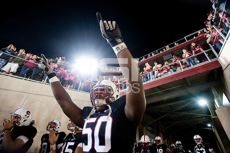 STANFORD, CA-JUNE 19, 2011- Cole Underwood greets fans before a Stanford win over UCLA 45-19 at Stanford Stadium.