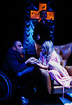 THE CHANGELING by Middleton adapted by McIntyre;<br /> Karina Jones as Beatrice-Joanna;<br /> David Toole as De Flores;<br /> Jeni Draper;<br /> Directed by Sealey;<br /> Graeae Theatre Company;<br /> at the Phoenix Theatre, Exeter, UK;<br /> 11 October 2001;<br /> Credit: Patrick Baldwin;