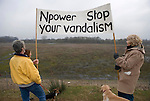Locals protest against N power dumping ash at Radley Lakes, seen here infront of an adjacent  lake that has been filled with fly ash from Didcot power station, part of the Radley lakes N power plan to dump fly ash from Didcot power station into Thrupp  lake.  A lake which contains otters and kingfishers; causing massive local outcry.