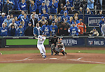 Norichika Aoki (Royals), Buster Posey (Giants),<br /> OCTOBER 28, 2014 - MLB :<br /> Norichika Aoki of the Kansas City Royals hits an RBI single in the bottom of the second inning during Game 6 of the 2014 Major League Baseball World Series against the San Francisco Giants at Kauffman Stadium in Kansas City, Missouri, United States. (Photo by AFLO)
