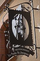 Europe/France/Midi-Pyrénées/32/Gers/Pujaudran: Enseigne  du restaurant de  Bernard Bach  Le Puits Saint-Jacques
