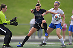 Columbia's Haley Glover (center) fights for control of the ball with St. Teresa's Addison Fyke (right). At left is St. Teresa's goalkeeper MaKenzee Velchek. Columbia defeated St. Teresa - Decatur in the Class 1A girls soccer supersectional game played at Columbia High School in Columbia, IL on Tuesday May 21, 2019.<br /> Tim Vizer/Special to STLhighschoolsports.com