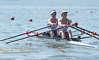 Brandenburg. GERMANY. GER LW2X. Bow Charlotte TAYLOR and Kat COPELAND at the start of their heat. <br /> 2016 European Rowing Championships at the Regattastrecke Beetzsee<br /> <br /> Friday  06/05/2016<br /> <br /> [Mandatory Credit; Peter SPURRIER/Intersport-images]
