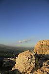 Israel, Lower Galilee, Arbel cliff overlooking Migdal and the Sea of Galilee