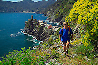 Vernazza, Cinque Terre, Liguria, Italy, May 2005. Built against the steep cliffs of the Ligurian coast of Italy, lie the five villages of the Cinque Terre. Ancient hiking trails connecting the villages offer some of Italy's most spectacular views. Photo by Frits Meyst/Adventure4ever.com