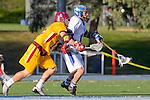 Rancho Santa Margarita, CA 04/30/10 - Dustin Skousen (Torrey Pines #12) and Kyle Spierkel (Santa Margarita #12) in action during the Rancho Santa Margarita CHS-Torrey Pines boys varsity lacrosse game.