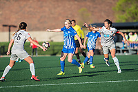 Boston, MA - Sunday May 07, 2017: Sam Witteman, Natasha Dowie and Abby Erceg during a regular season National Women's Soccer League (NWSL) match between the Boston Breakers and the North Carolina Courage at Jordan Field.