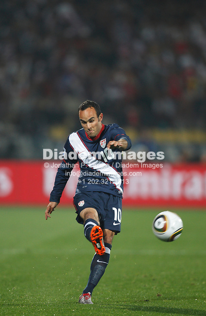 RUSTENBURG, SOUTH AFRICA - JUNE 12:  Landon Donovan of the United States takes a free kick during a 2010 FIFA World Cup soccer match against England June 12, 2010 in Rustenburg, South Africa. NO mobile use.  Editorial ONLY. (Photograph by Jonathan P. Larsen)