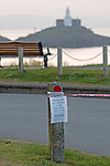 Swansea, UK, 24th April 2020.<br />Council notices about the blocked off car park at Bracelet Bay in Limeslade near Swansea today due to the Coronavirus.