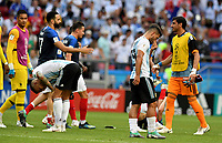 KAZAN - RUSIA, 30-06-2018: Jugadores de Argentina lucen decepcionados después del partido de octavos de final entre Francia y Argentina por la Copa Mundial de la FIFA Rusia 2018 jugado en el estadio Kazan Arena en Kazán, Rusia. / Players of Argentina look disappointed after the match between France and Argentina of the round of 16 for the FIFA World Cup Russia 2018 played at Kazan Arena stadium in Kazan, Russia. Photo: VizzorImage / Julian Medina / Cont