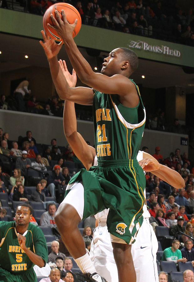 Dec. 20, 2010; Charlottesville, VA, USA; Norfolk State Spartans guard Jordan Weathers (21) shoots the ball during the game against the Virginia Cavaliers at the John Paul Jones Arena. Mandatory Credit: Andrew Shurtleff