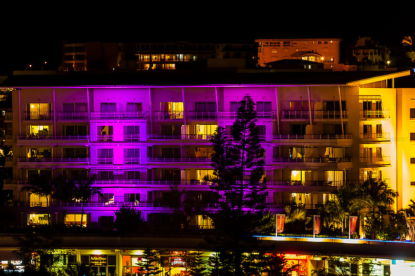 Colorful buildings at night, Noumea, Grand Terre, New Caledonia
