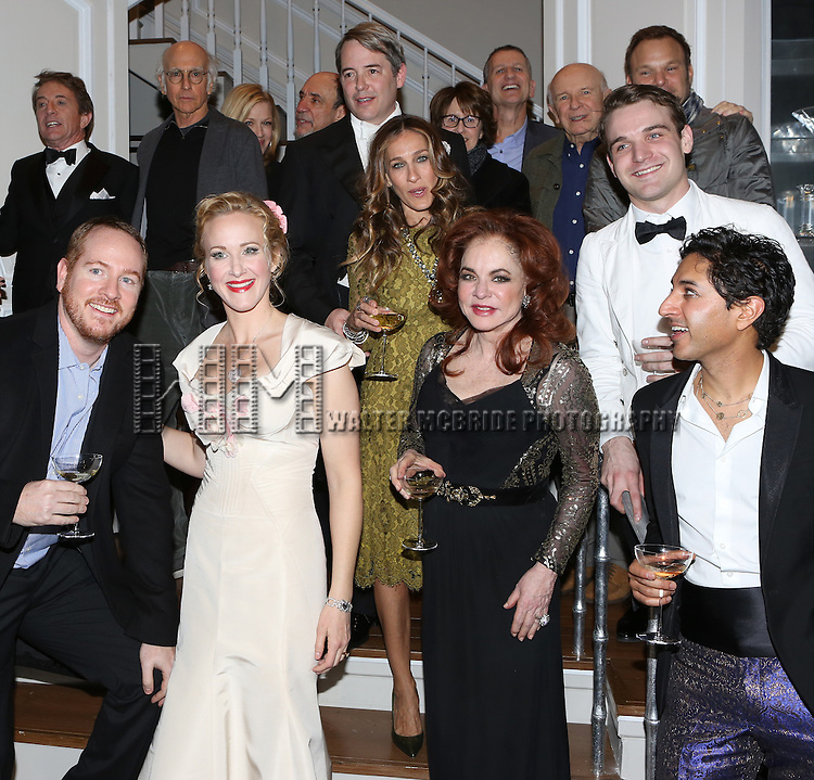 (ist row) Darren Goldstein, Katie Finneran, Stockard Channing, Maulik Pancholy (2nd row) Steve Martin, Matthew Broderick, Sarah Jessica Parker, Micah Stock (3rd row) Larry David, Diane Sawyer, F. Murray Abraham, Delia Ephron, Tom Kirdahy, Terrence McNally and Norbet Leo Butz attend the re-opening night performance backstage reception for 'It's Only A Play' at the Bernard B. Jacobs Theatre on January 23, 2014 in New York City.