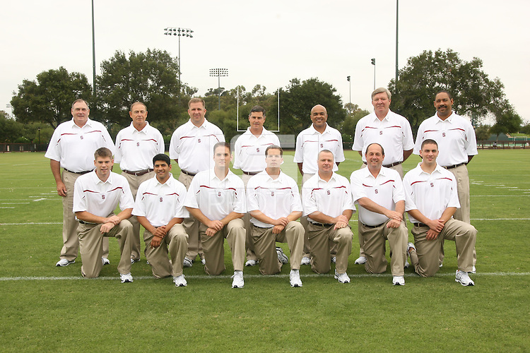 7 August 2006: Position Photos during Stanford Football's Picture Day at the Stanford practice field in Stanford, CA. Top Row (L-R): Tom Freeman, A.J. Christoff, Tucker Waugh, head coach Walt Harris, Buzz Preston, Dave Tipton, Darrell Patterson. Bottom Row (L-R): Craig Knoche, Mayur Chaudhari, Joseph Ashfield, Nate Nelson, Jeff Hammerschmidt, Doug Sams, Matt Weiss.