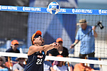 GULF SHORES, AL - MAY 07: Heidi Dyer (22) of Pepperdine University hits a bump against the University of Hawaii during the Division I Women's Beach Volleyball Championship held at Gulf Place on May 7, 2017 in Gulf Shores, Alabama. (Photo by Stephen Nowland/NCAA Photos via Getty Images)