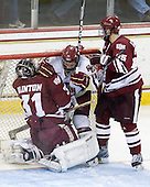 Paul Dainton (UMass - 31), Cam Atkinson (BC - 13), Michael Lecomte (UMass - 25) - The Boston College Eagles defeated the University of Massachusetts-Amherst Minutemen 2-1 (OT) on Friday, February 26, 2010, at Conte Forum in Chestnut Hill, Massachusetts.