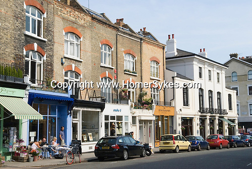 Primrose Hill. Regents Park Road shops and cafe. London UK 2008