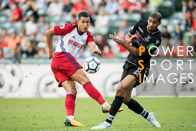 West Bromwich Albion midfielder Jake Livermore (L) battles for the ball with Crystal Palace midfielder Ruben Loftus-Cheek (R)  during the Premier League Asia Trophy match between West Bromwich Albion and Crystal Palace at Hong Kong Stadium on 22 July 2017, in Hong Kong, China. Photo by Weixiang Lim / Power Sport Images