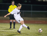 NWA Democrat-Gazette/BEN GOFF @NWABENGOFF<br /> Eli Brandon of Bentonville takes his turn during penalty kicks Tuesday, March 13, 2018, during the match at Bentonville's Tiger Athletic Complex.